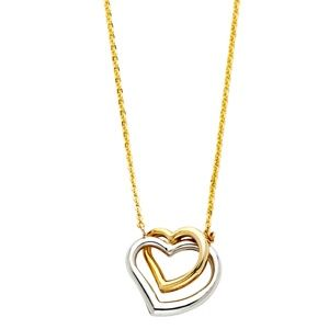 Jewelry - 14k solid yellow gold 2 Heart Pendant Necklace
